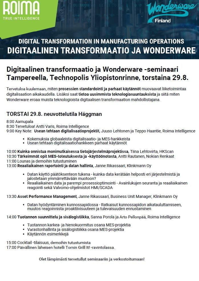 Wonderware-seminaarin aikataulu